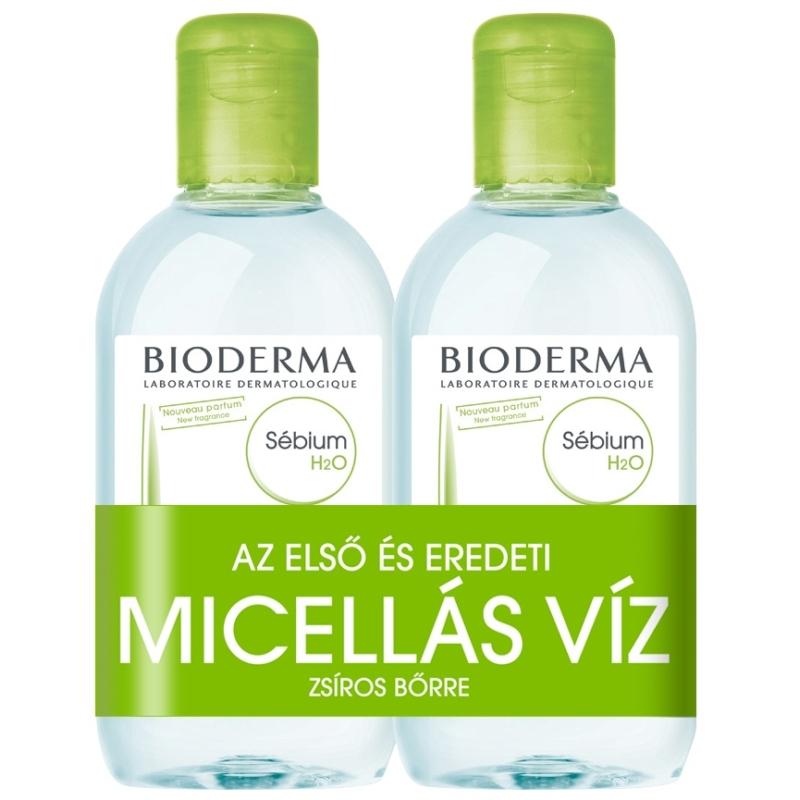 BIODERMA Sébium H2O arc-és sminklemosó zsíros bőrre 2x250 ml