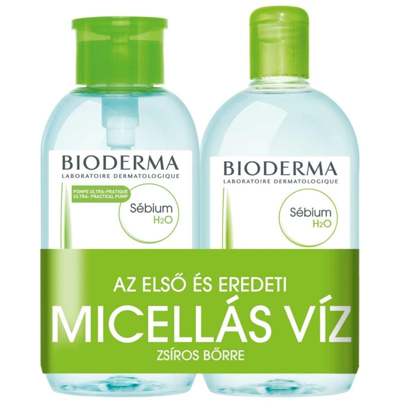 BIODERMA Sébium H2O arc-és sminklemosó zsíros bőrre pumpás 2 x 500 ml
